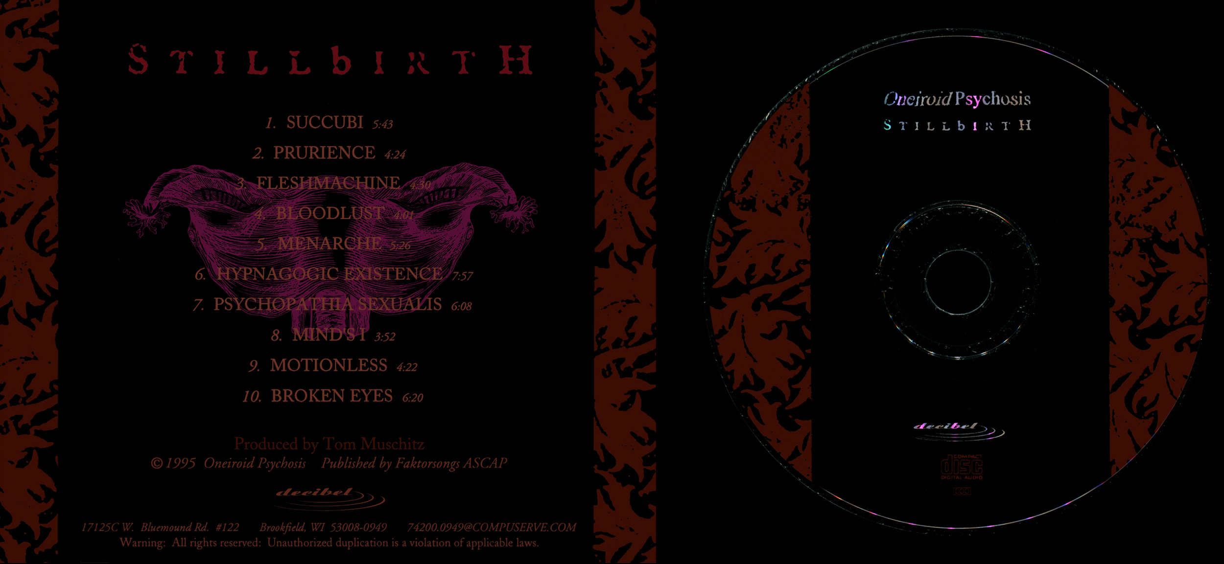 Oneiroid Psychosi s, Stillbirth.  CD tray, back, and disc design.  1995. Pen and ink. Released by Decibel Records.