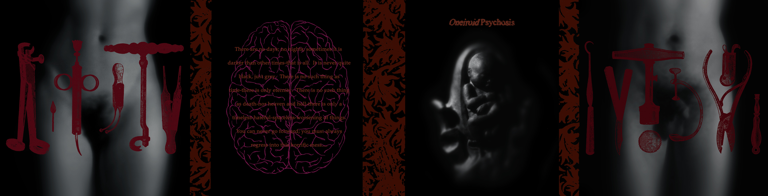 Oneiroid Psychosis,  Stillbirth . Gatefold CD booklet . 1995. Sculpted clay fetus and womb, Photography, Pen and ink,Found medical instrument illustrations. Released by Decibel Records.