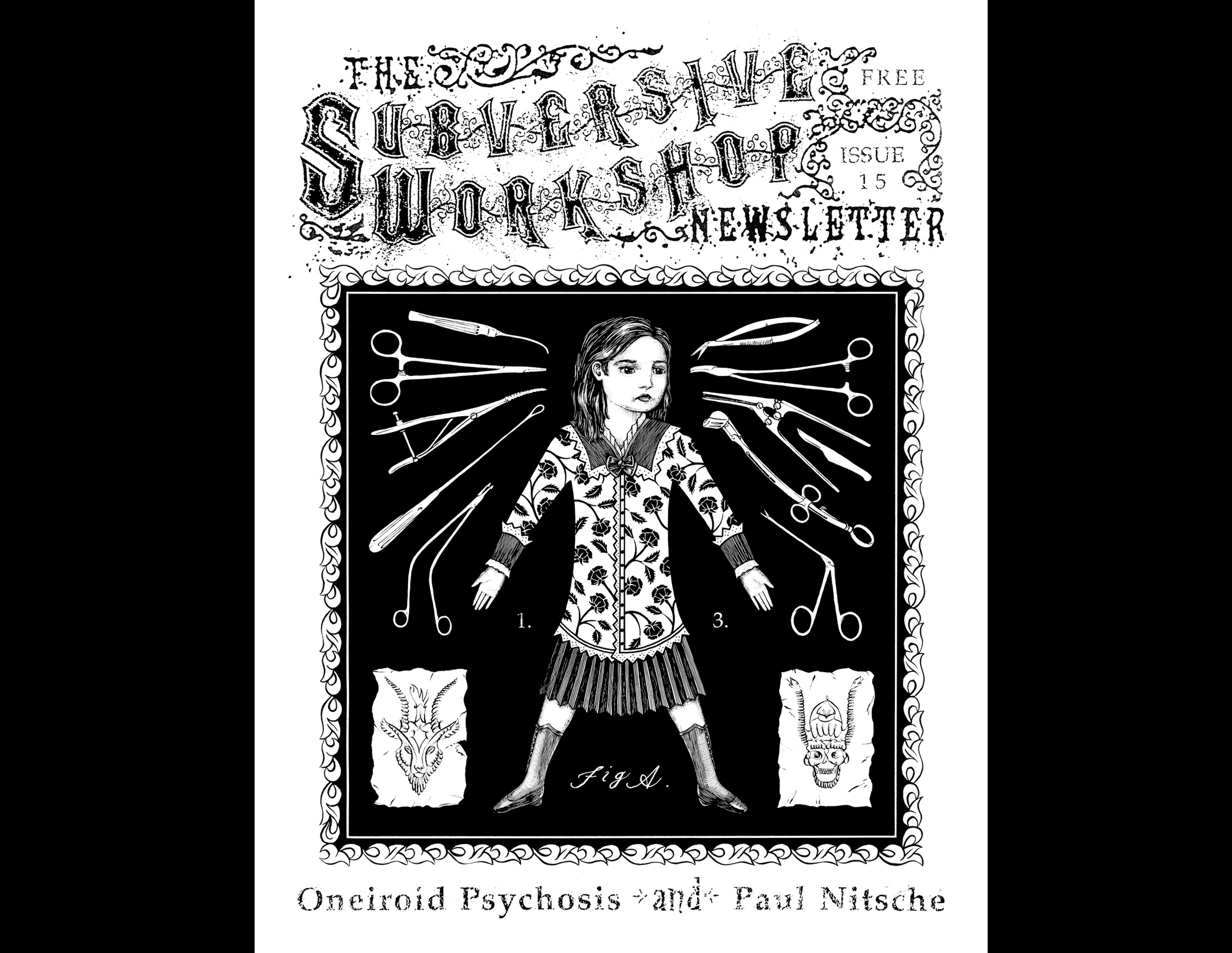 The Subversive Workshop Newsletter, Issue 15, cover.  1995. Pen and Ink, Scratch board. Published by Jeff McLeod.