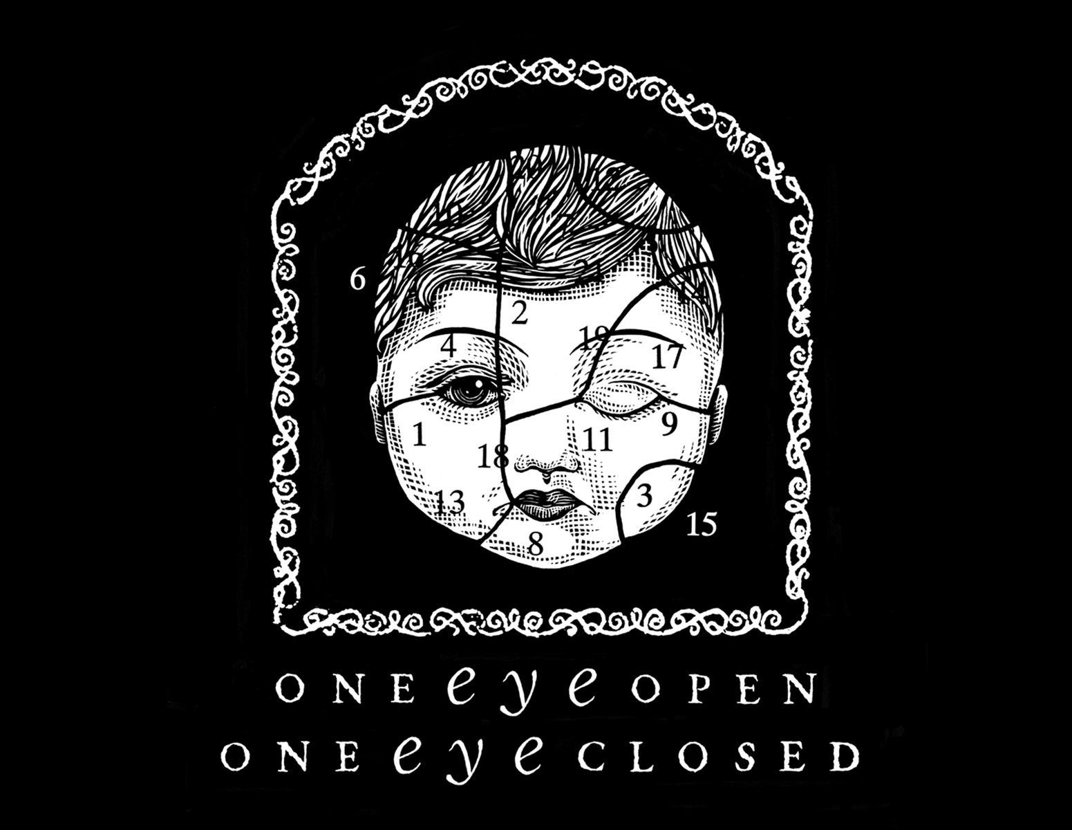 One Eye Open, One Eye Closed. Promotional poster and front of T shirt for alternative comic art show.  1994. Pen and Ink, Scratch board. Kalamazoo, MI.