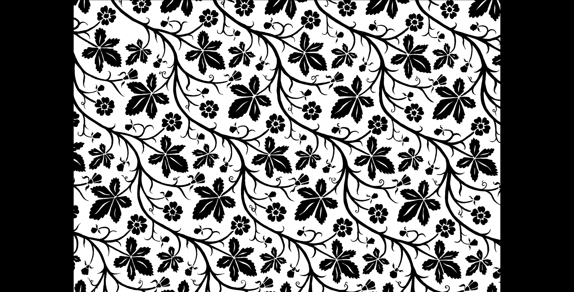 Leaf and Flower Pattern. Original pattern before distressing.  1994. Pen and ink. Produced for Mudlark Papers, Chicago, IL.