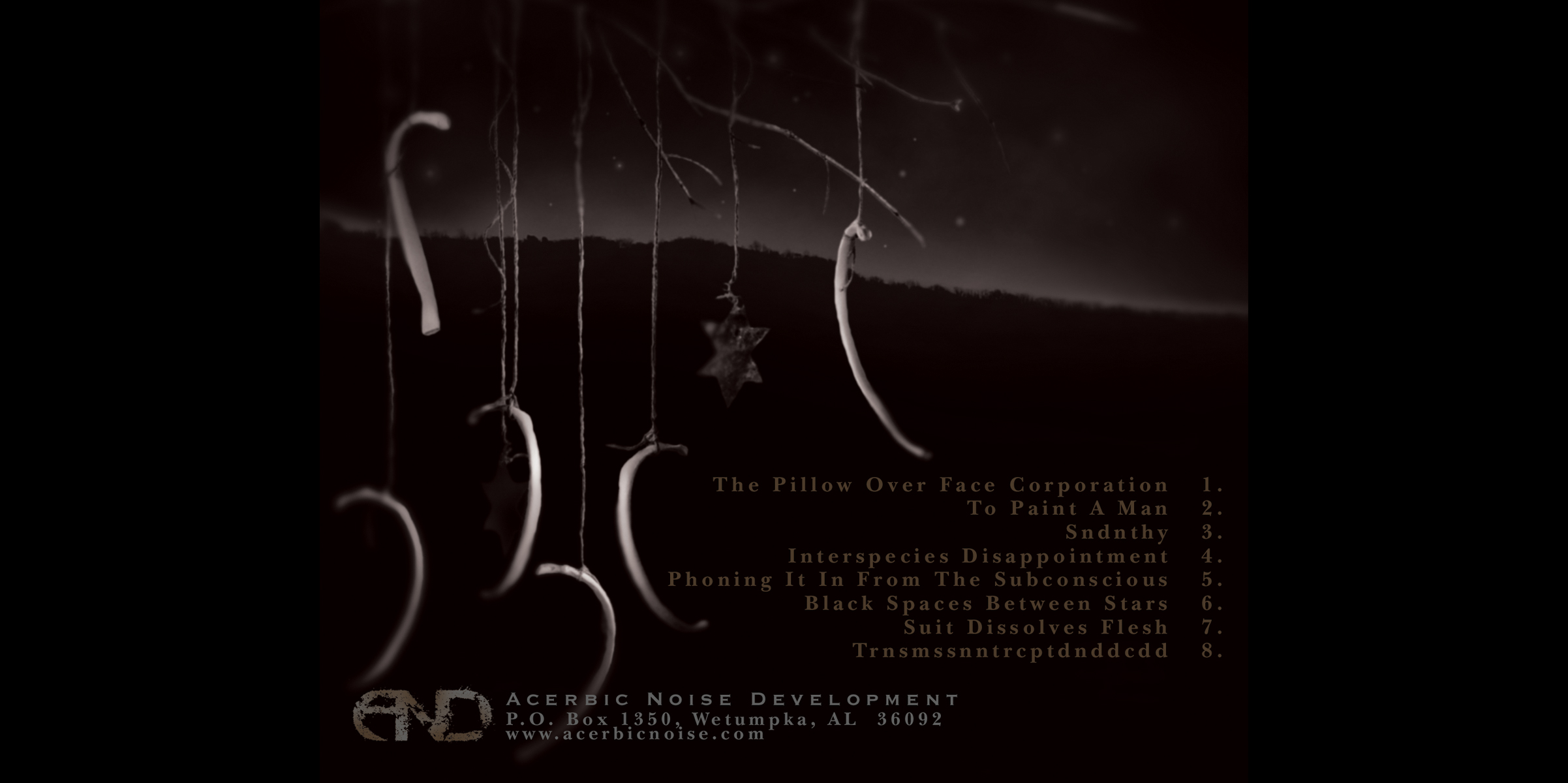 Gezoleen,  Black Spaces Between Stars . CD tray, back.  2005. Photographic illustration. Released by Acerbic Noise Development.