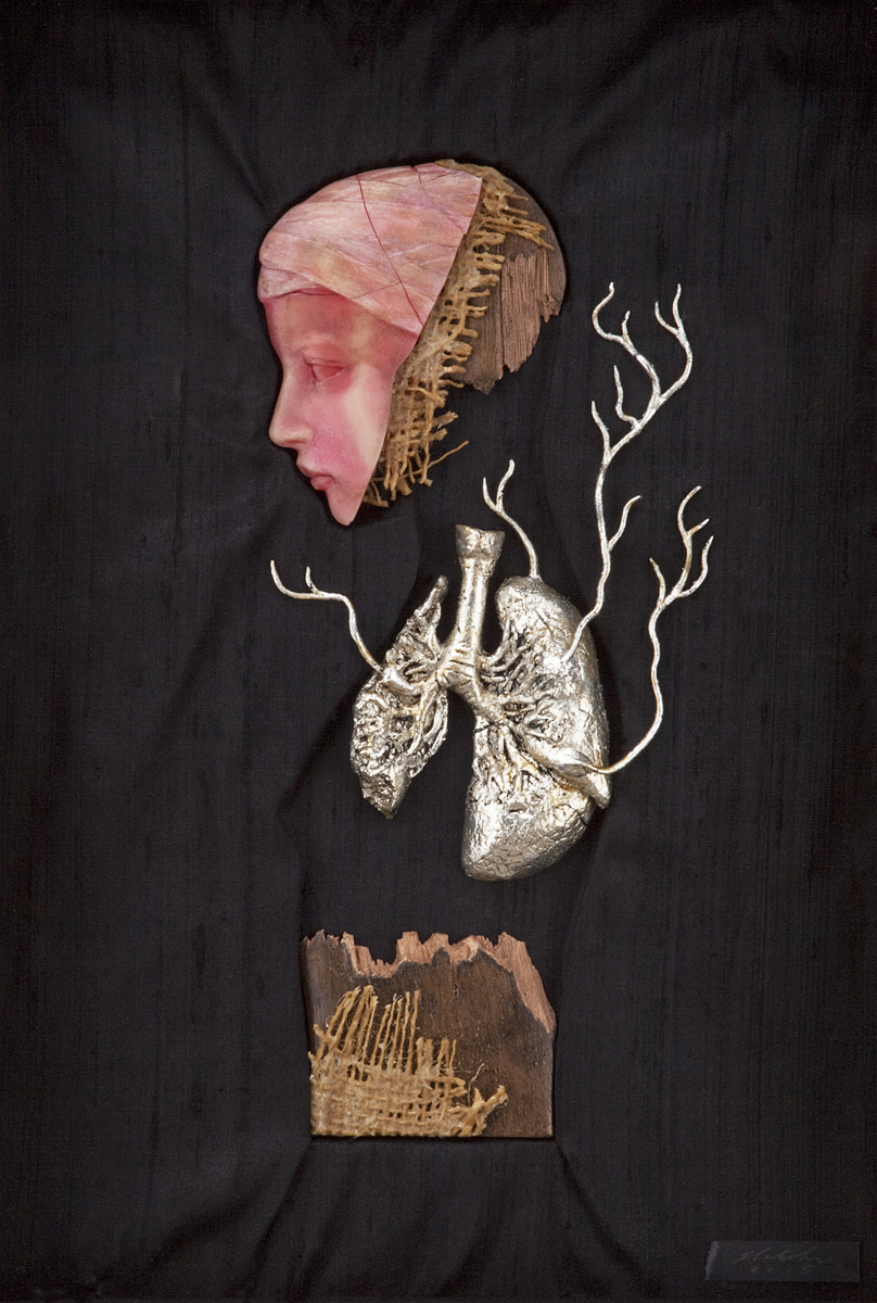 "Effigy Fragment I 2013-2015. 10""w x 14.5""h. Beeswax, Carnauba wax, Jute, Walnut, Resin, Silver Leaf, Oil, Silk."
