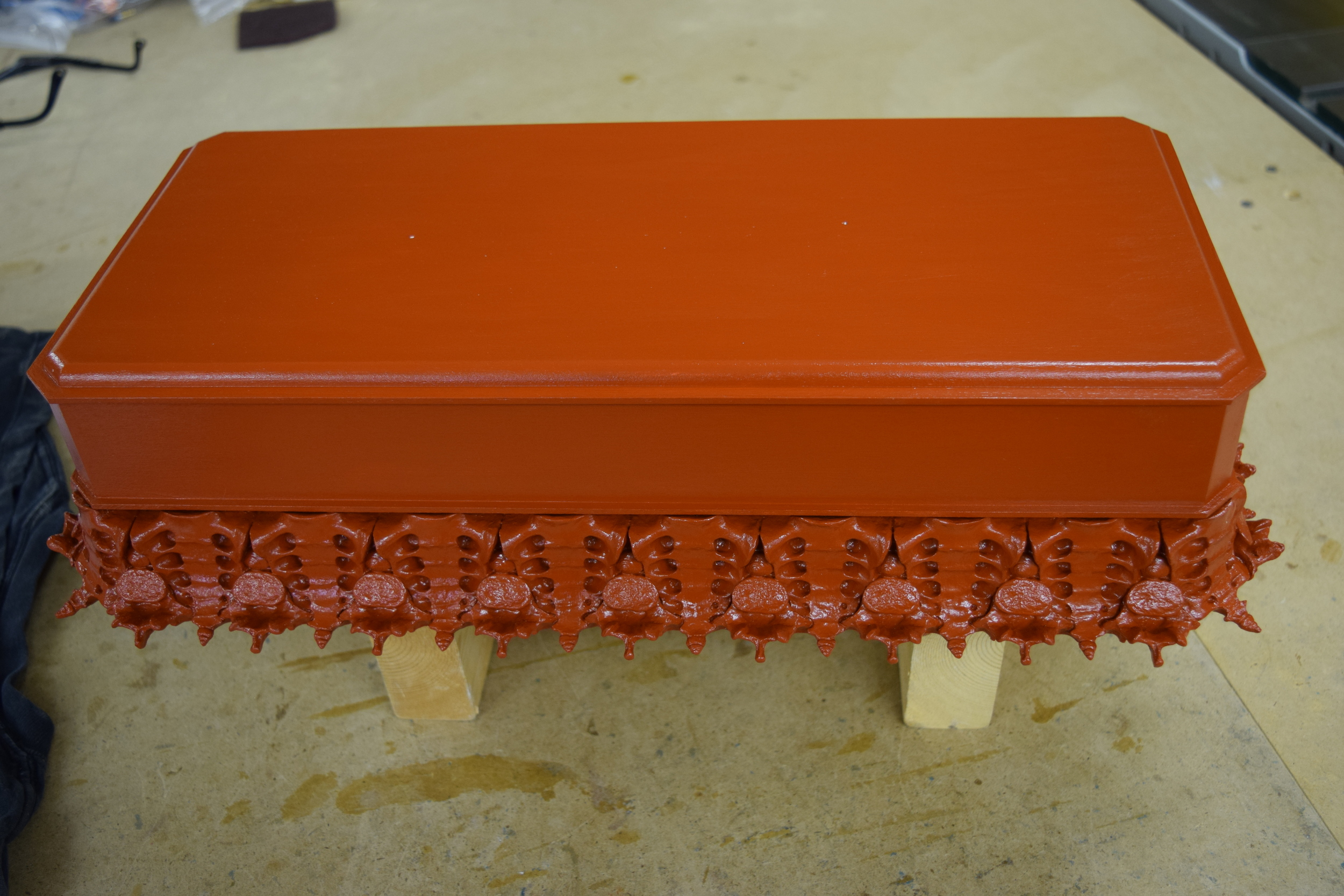 The finished red oxide base coat.