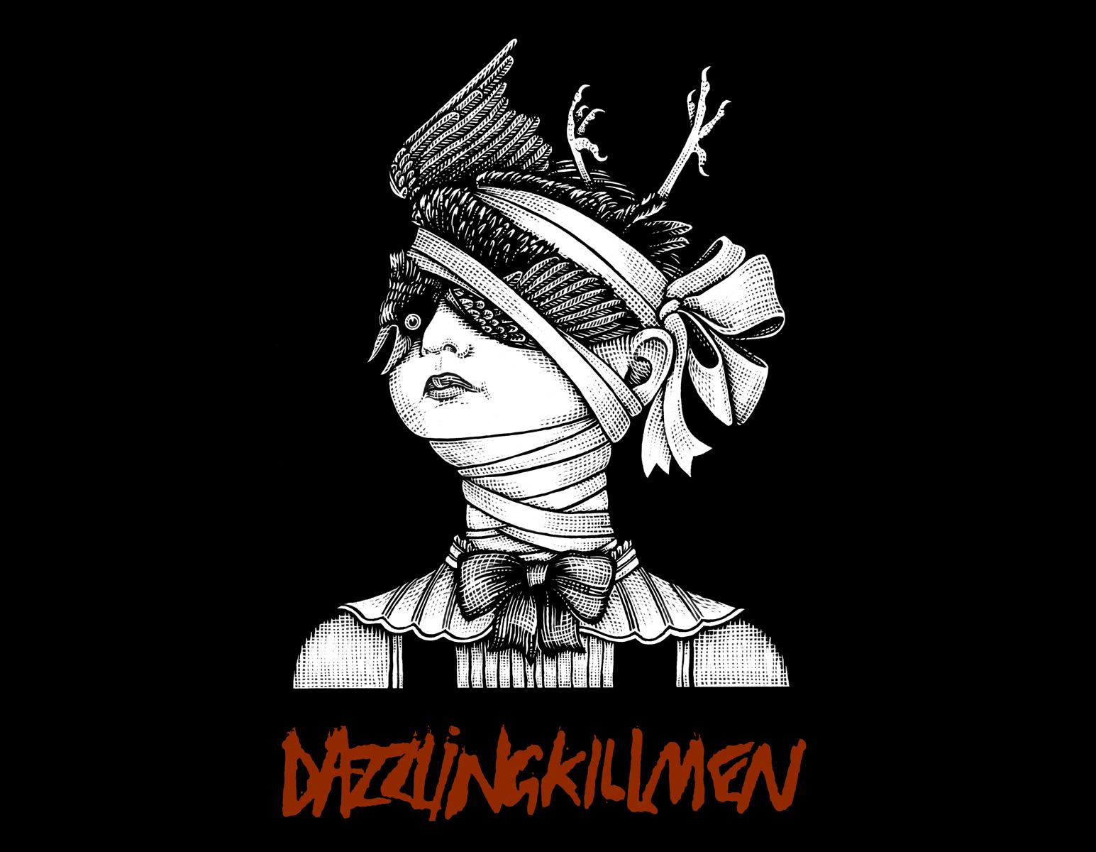 Dazzling Killmen,  Crow Head .  T-Shirt Design .  Drawn 2013, printed 2017. Pen and ink, Scratch board.