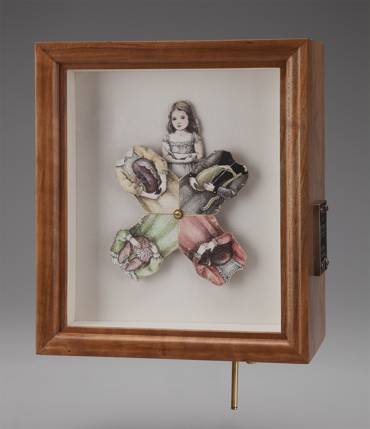 """The Four Humors. 2016-2017. 8.75""""h x 7.5""""w x 4""""d. Lithography, Acrylic, Mahogany, Brass, Bronze, Linen, Self-fabricated mechanisms, Hardware."""