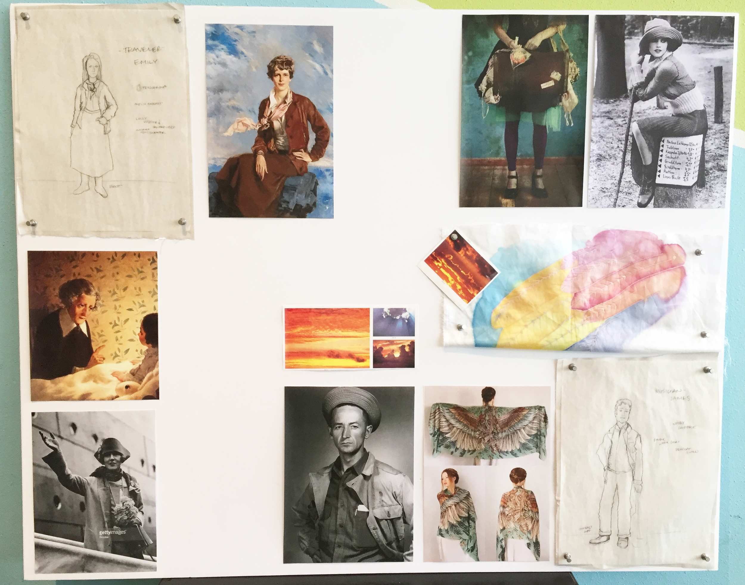 Jenny's inspiration board for The Traveler (Emily June Newton) and The Musician (James Luster).