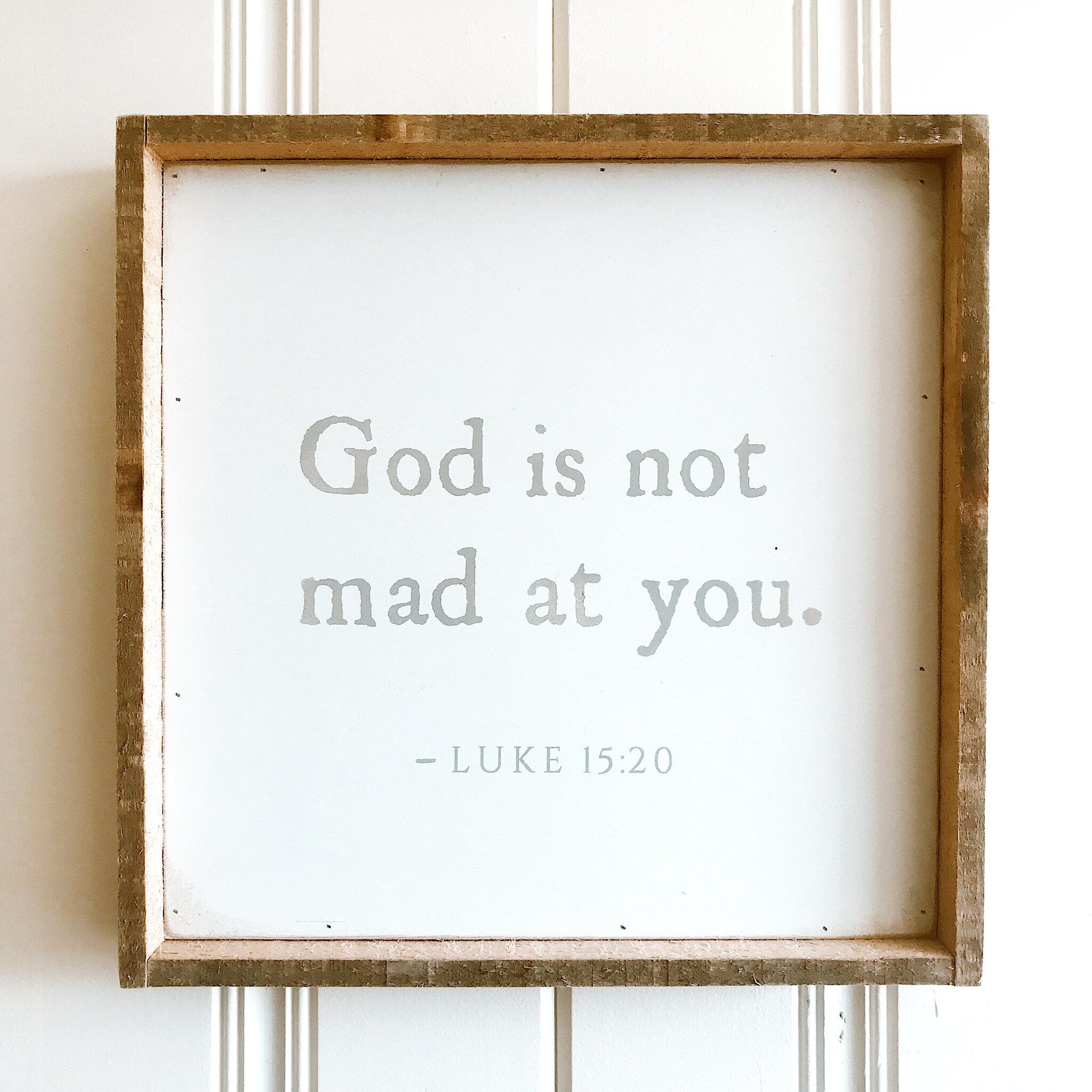 "SALE: $33.60 / Reg: $42.00 - God Is Not Mad: 14"" x 14"""