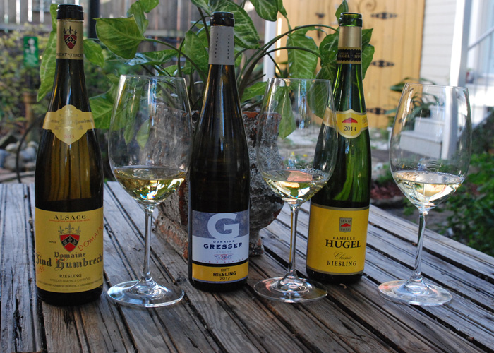 Domaine Zind Humbrecht, Domaine Gresser and Famille Hugel Riesling comparisons.