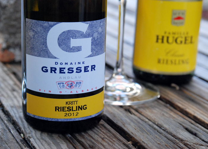 Domaine Rémy Gresser Kritt riesling 2012 is tight and shy with underripe green apple fruit,bright acidity and distinct mineral stony notes. Made for aging.