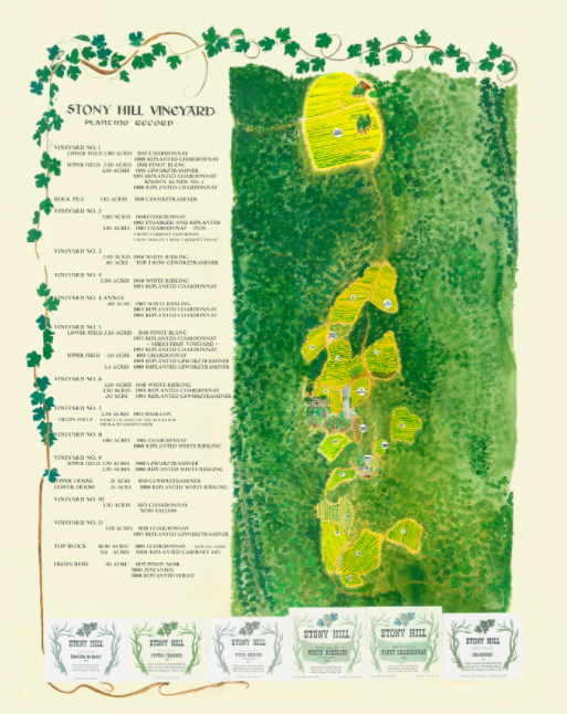 This map is borrowed from the Stony Hill Vineyard website and shows their vineyards and original labels.  Click to enlarge .
