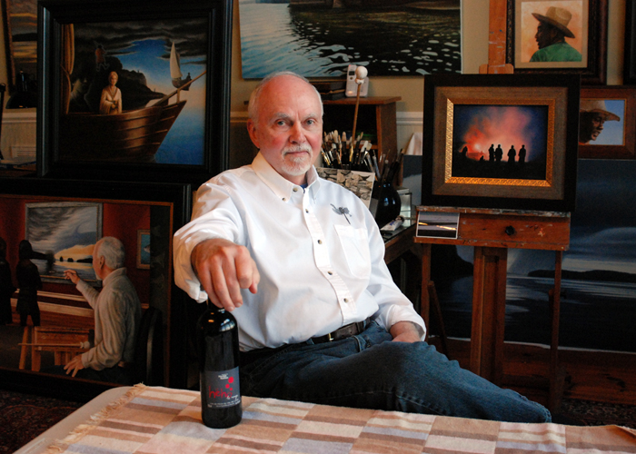 Artist Tim Stevenson in his home studio in Florence, Alabama. Tim and I talked art, staying the course and why he does what he does as we enjoyed a bottle of Domaine Hautes Nöelles HéHo Rouge.