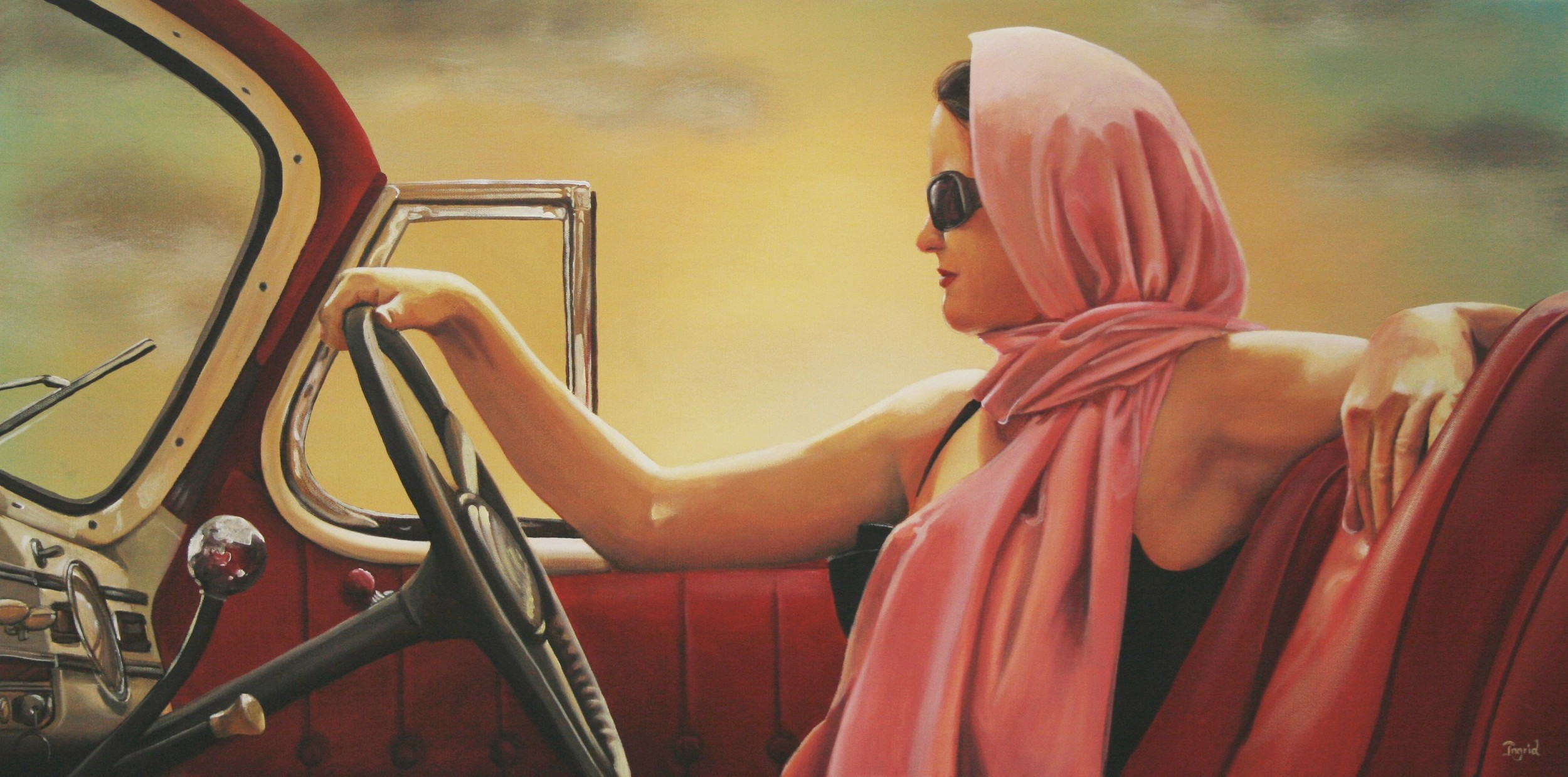 Girl in a Sports Car - SOLD