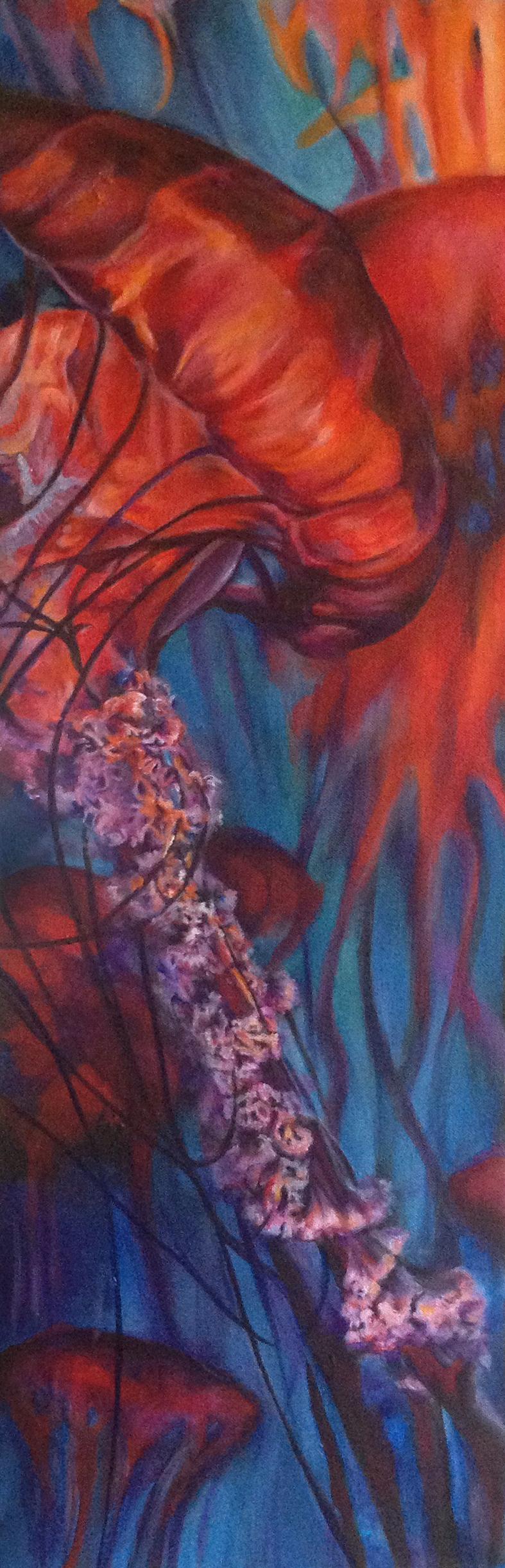 "Waltz of the Jellyfish Acrylic on canvas, 10"" x 30"""