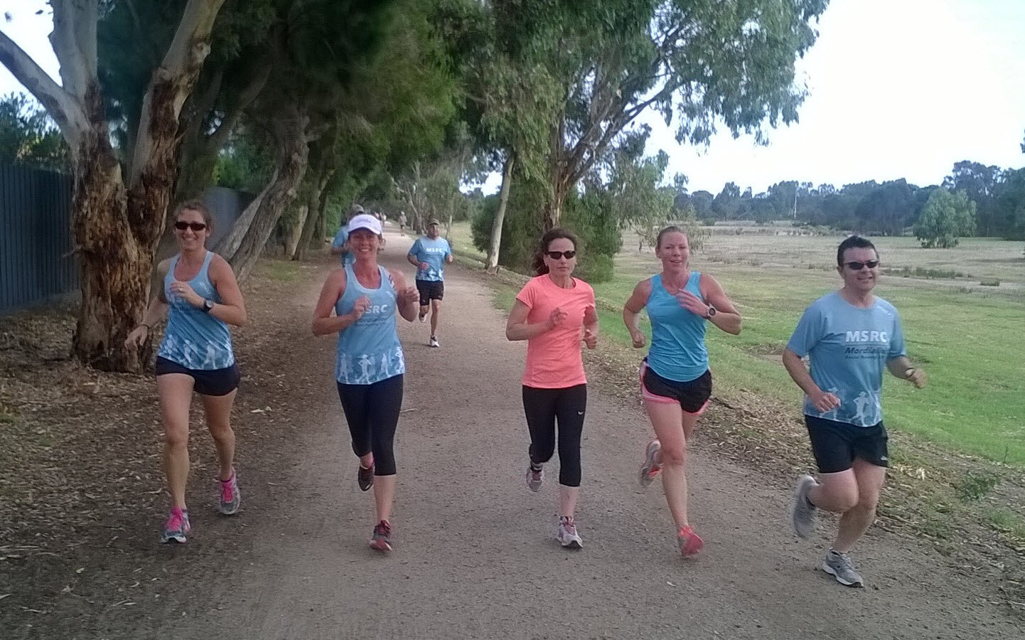 MSRC Weekly Run Group running the long Beach trail at Mordialloc
