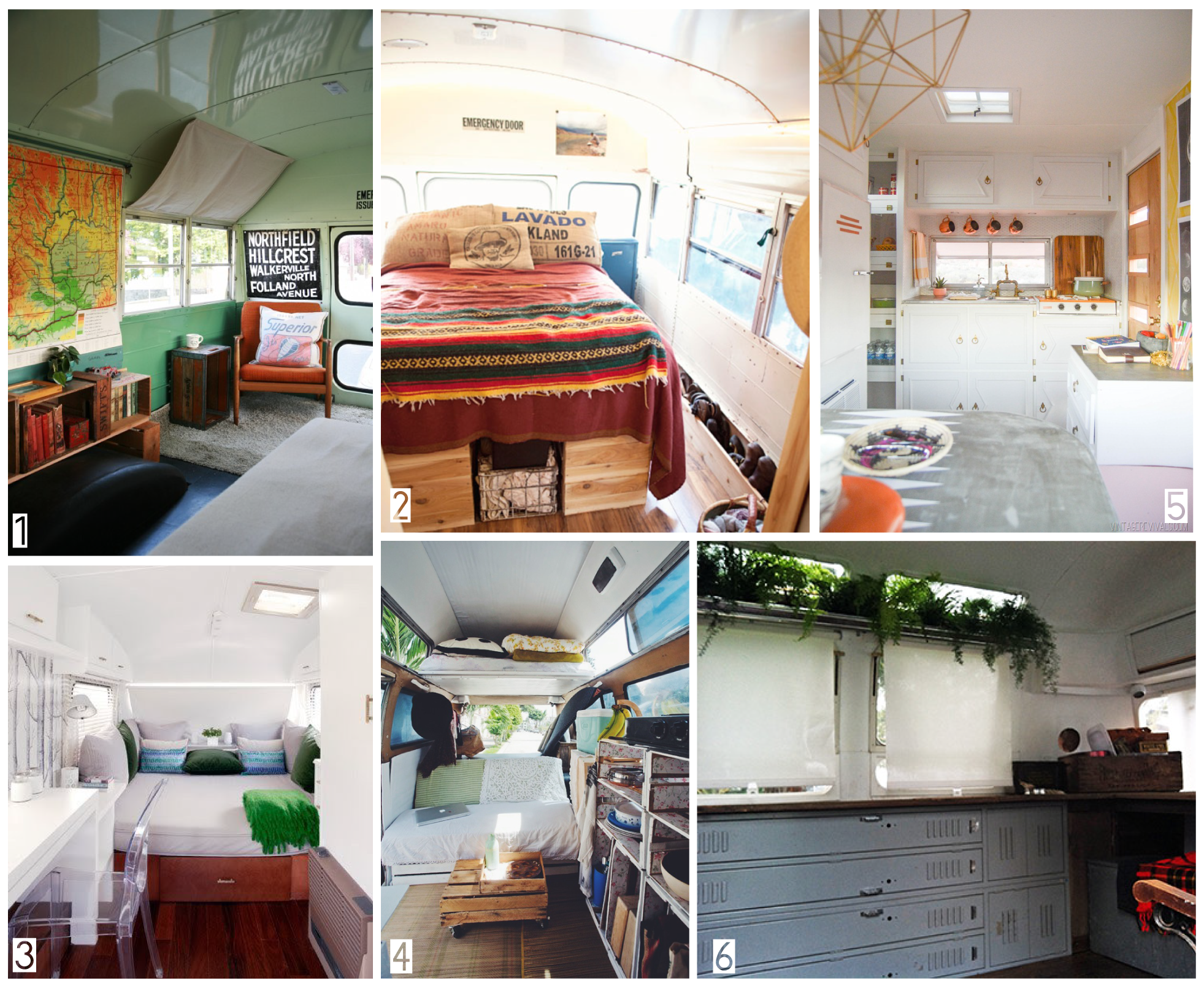"""1.  Marco Khalil and Caroline West's  School Bus   2. Hello Bluebird's  Bus Reno   3.  Beautiful, Minimalist Trailer , built by  Caravanolic and decorated by  Vice versa   4.   Navigation Trust's 1971 Kombi  5. The super adorable  """"Nugget"""" by  Vintage Revivals   6. A very French, Rustic  Camper Makeover (I wish I could read it!)"""