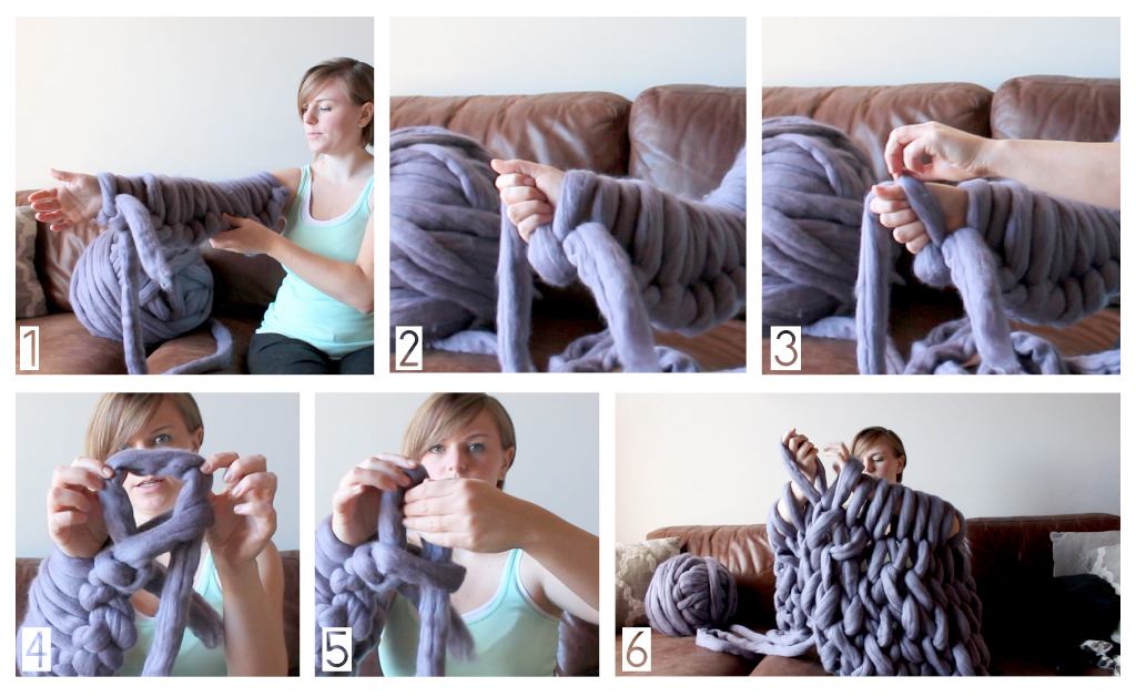 1. Finish casting-on (1-6 above) 2. Grab your working yarn in your working hand 3. Pull the Ffirst loop over your hand (still holding the working yarn) 4. The held yarn will create a loop 5. Thread your other hand through that loop (working-yarn facing you) 6. Repeat steps 1-5 on all of your rows until you need to cast off