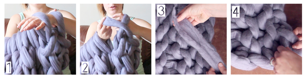 1. Knit two stitches 2. Pull (cast) the Ffirst stitch over the second (repeat the knit/cast across the end of the blanket) 3. Take your tail and weave it into the edge of the blanket 4. You're done!