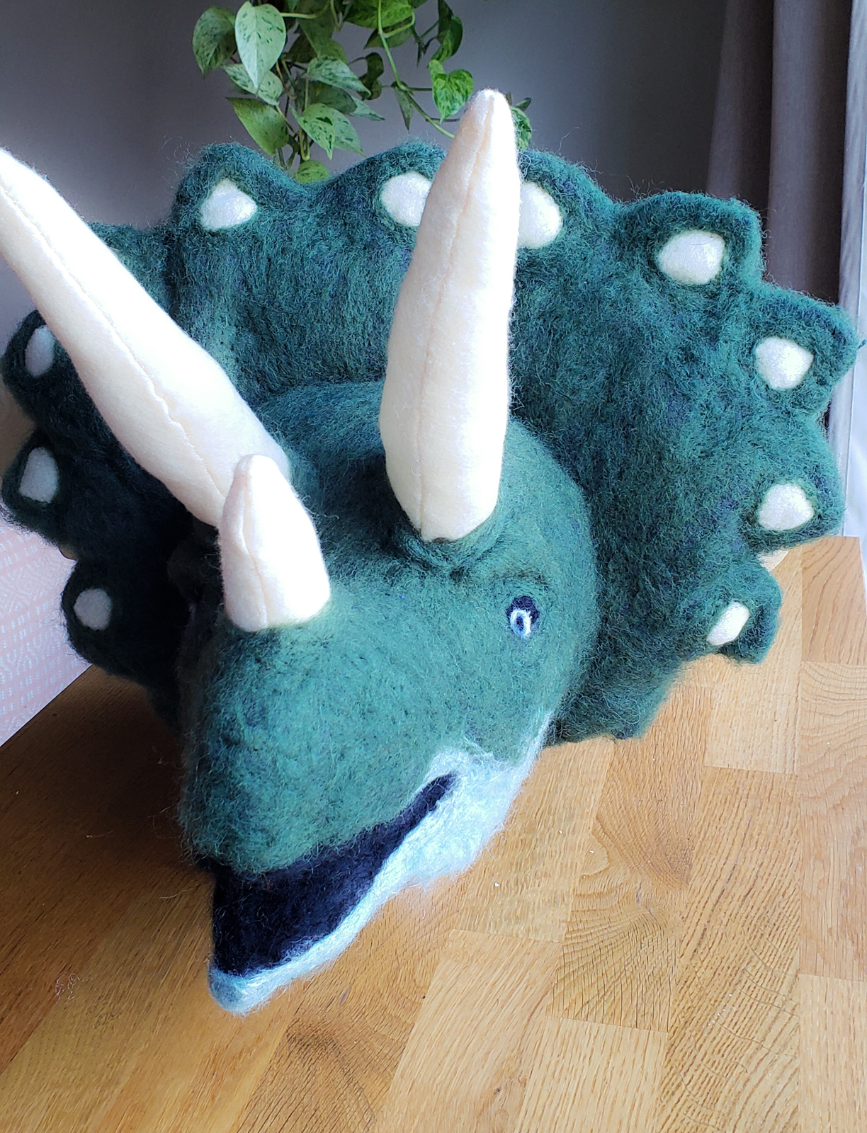 Sewn/Stuffed/Felted Triceratops Bust