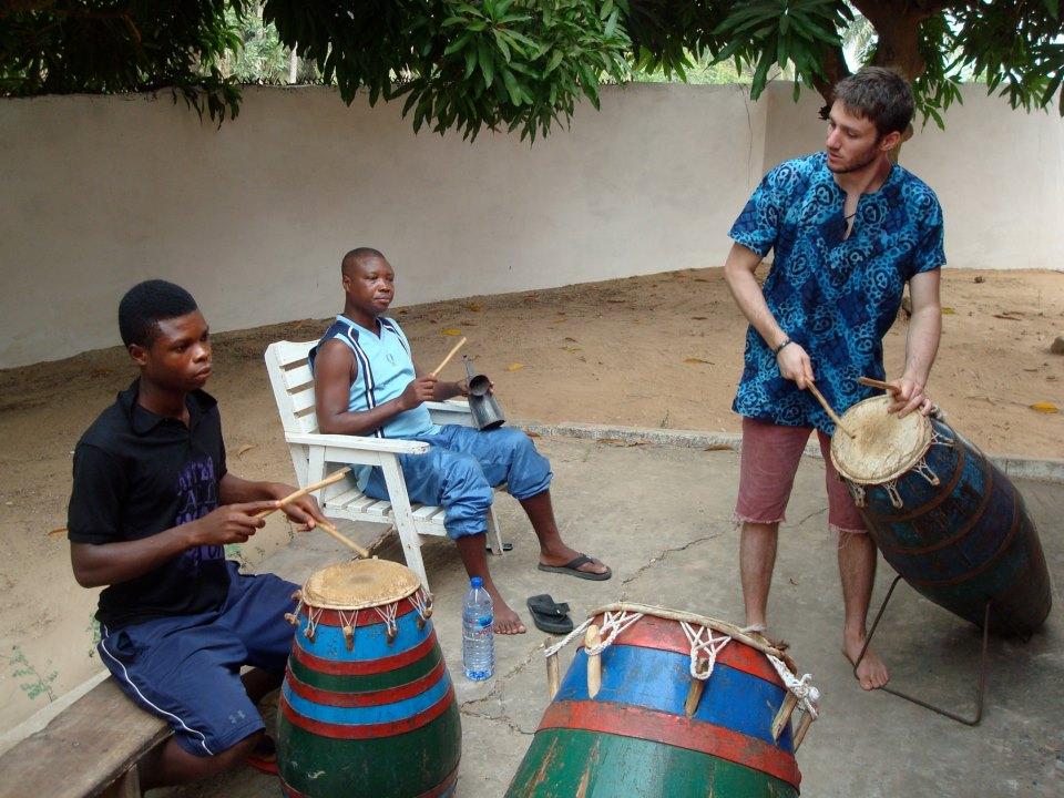 Studying Ewe drumming at Dagbe Cultural Institute and Arts Centre, Ghana
