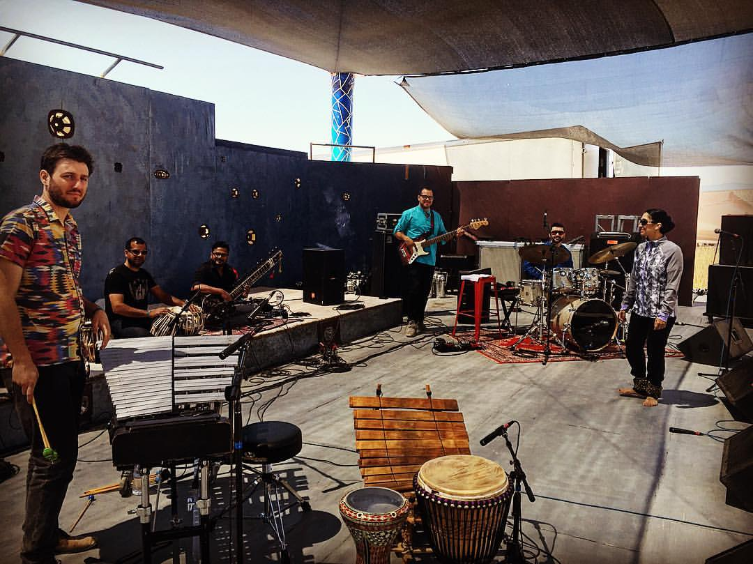 Soundcheck for Joshua Tree Music Festival with Dhara World Music
