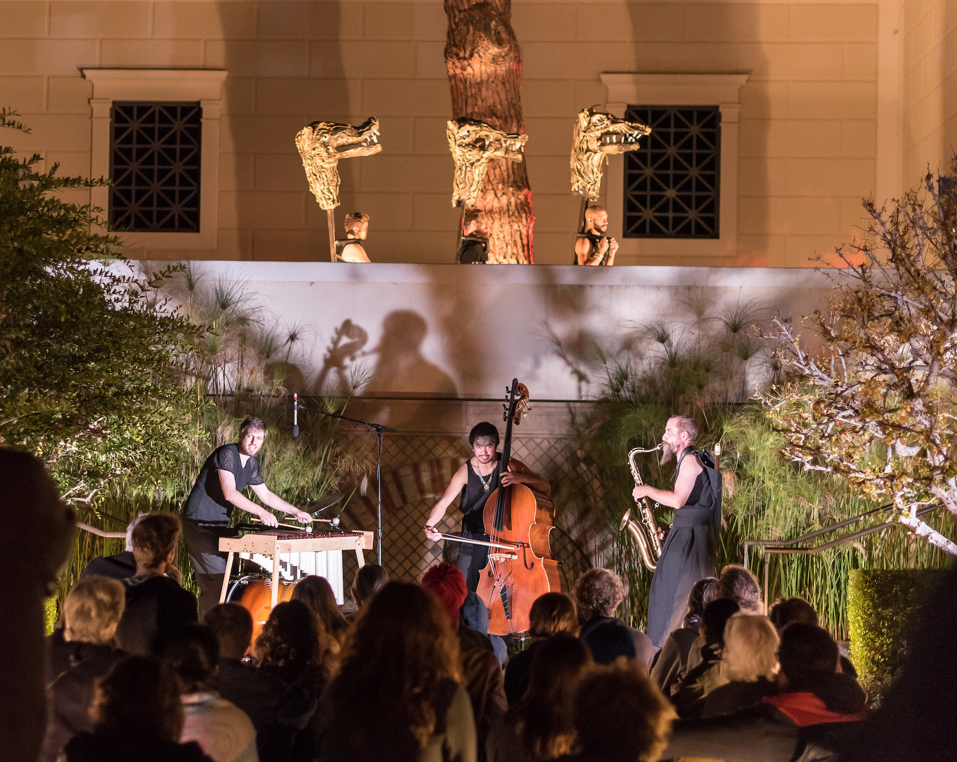 "Performing at the Getty Villa for Four Larks' ""Katabasis"""