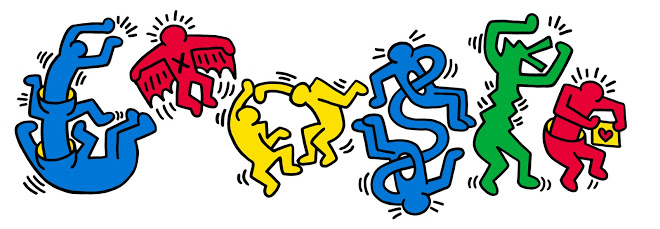Google Doodle in honour of Haring's 54th birthday.