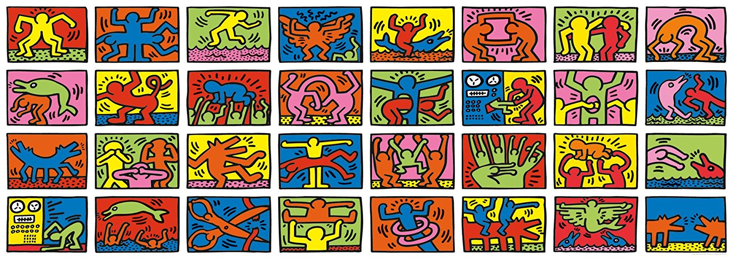 The Ravensberger 'Keith Haring: Double Retrospect' puzzle is 17′ x 6′ and has 32,256 pieces. It is in the  Guinness Book of World Records  as the world's largest puzzle. It was created out of Haring's art works in his memory after he died.