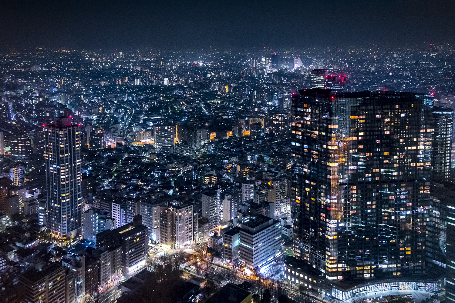 Looking out across Tokyo with lights as far as you can see.
