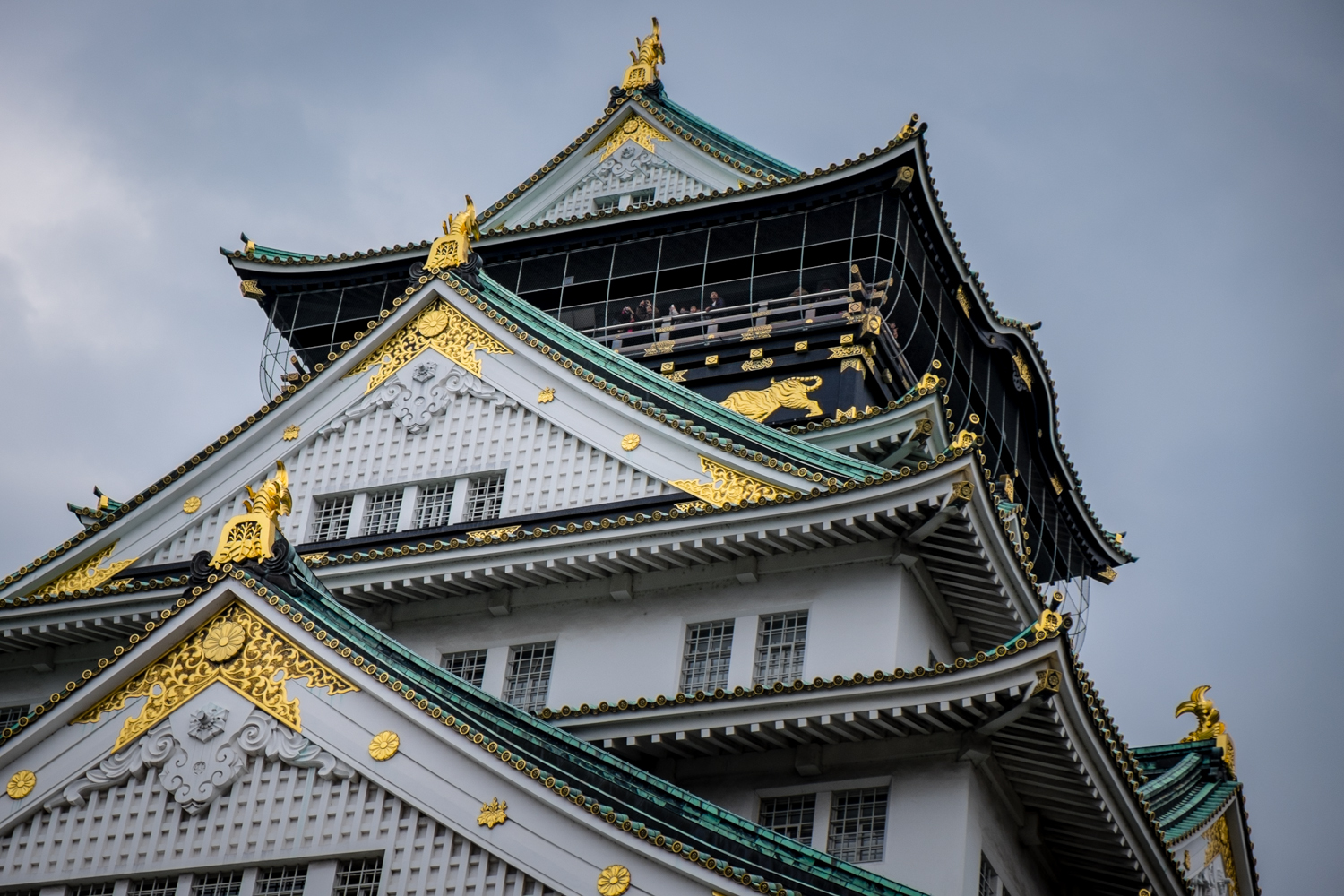 Close up of Osaka castle. The golden fixtures looked amazing in person.