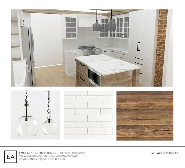 This rustic modern Kitchen is getting close to demo day and then the fun can really  begin.  Can't wait to get this one going! #spokaneinteriordesign #spokanehomes #interiordesign #emilyanneinteriordesign #kitchenremodel #modernrustic #housebeautiful #renovation #kitchenupgrade #reclaimedwood #whitebrick