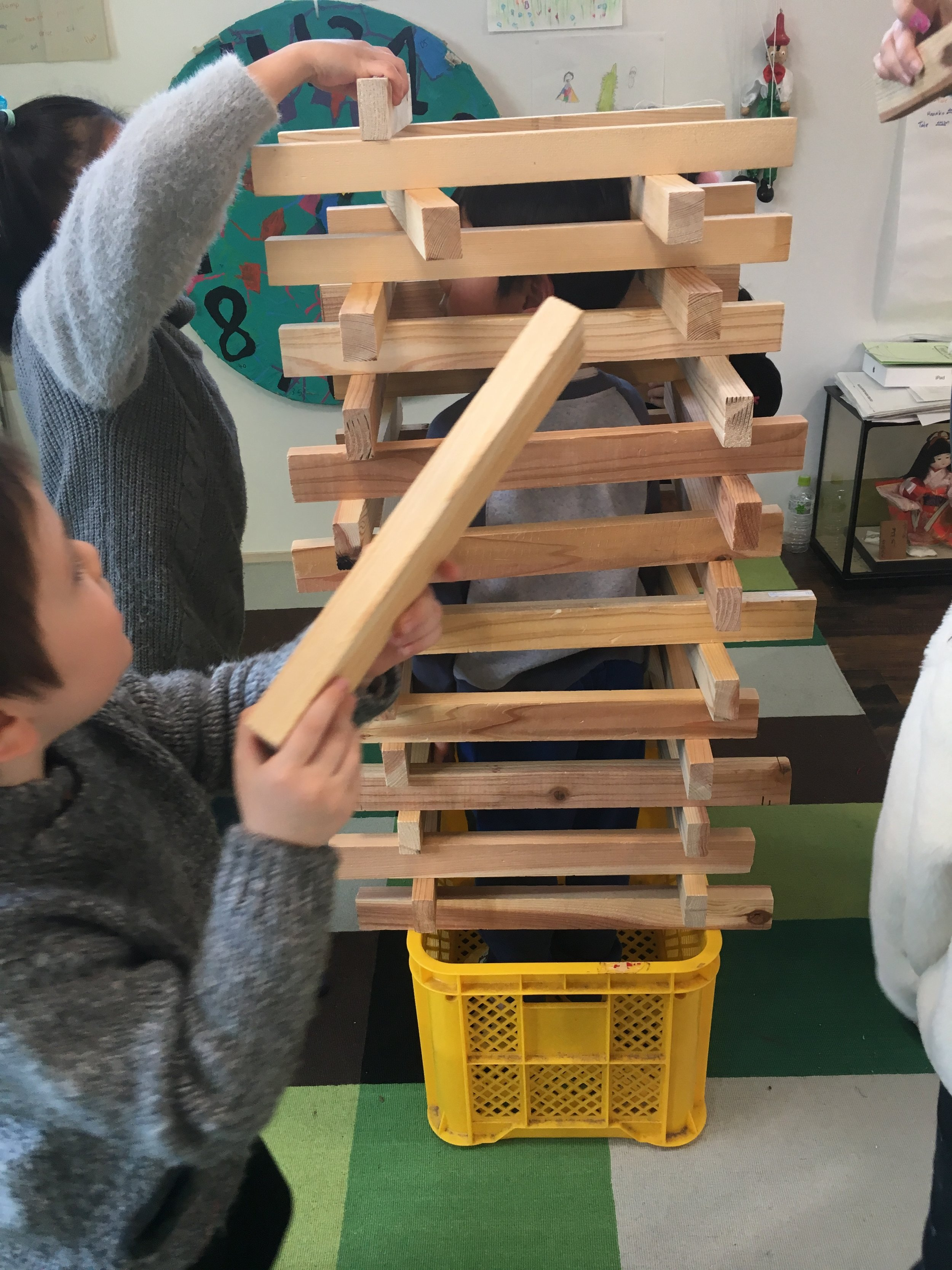 Some of the kids started building block towers....
