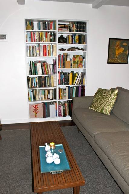 Original built-in bookcase in living room