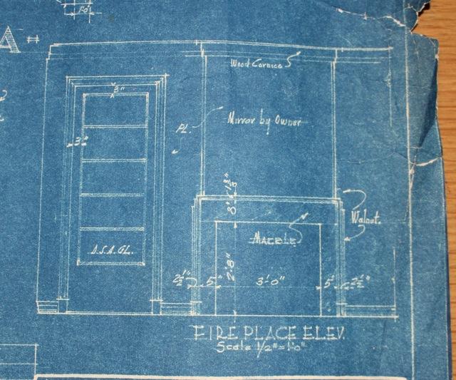 Original blueprints with fireplace detail
