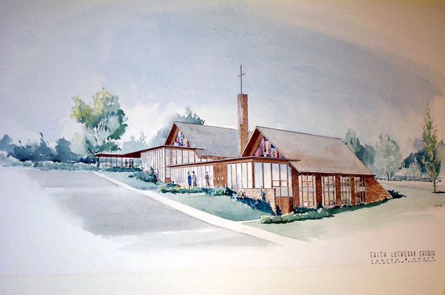Beautiful color rendering of Faith Lutheran Church by Obryon & Knapp.  This image is found today on the church website.