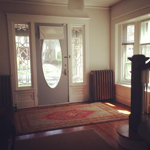 """Front entry hall of our """"modern' four square in Heritage Hill"""