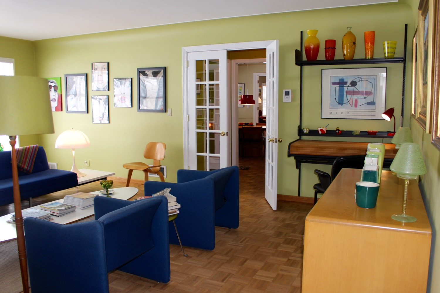 Bright french doors and a Herman Miller desk