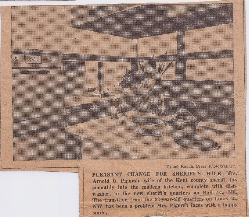 Berdeen PIgorsh photographed in the new kitchen in the Sheriff's House, Grand Rapids Press, January 4, 1958
