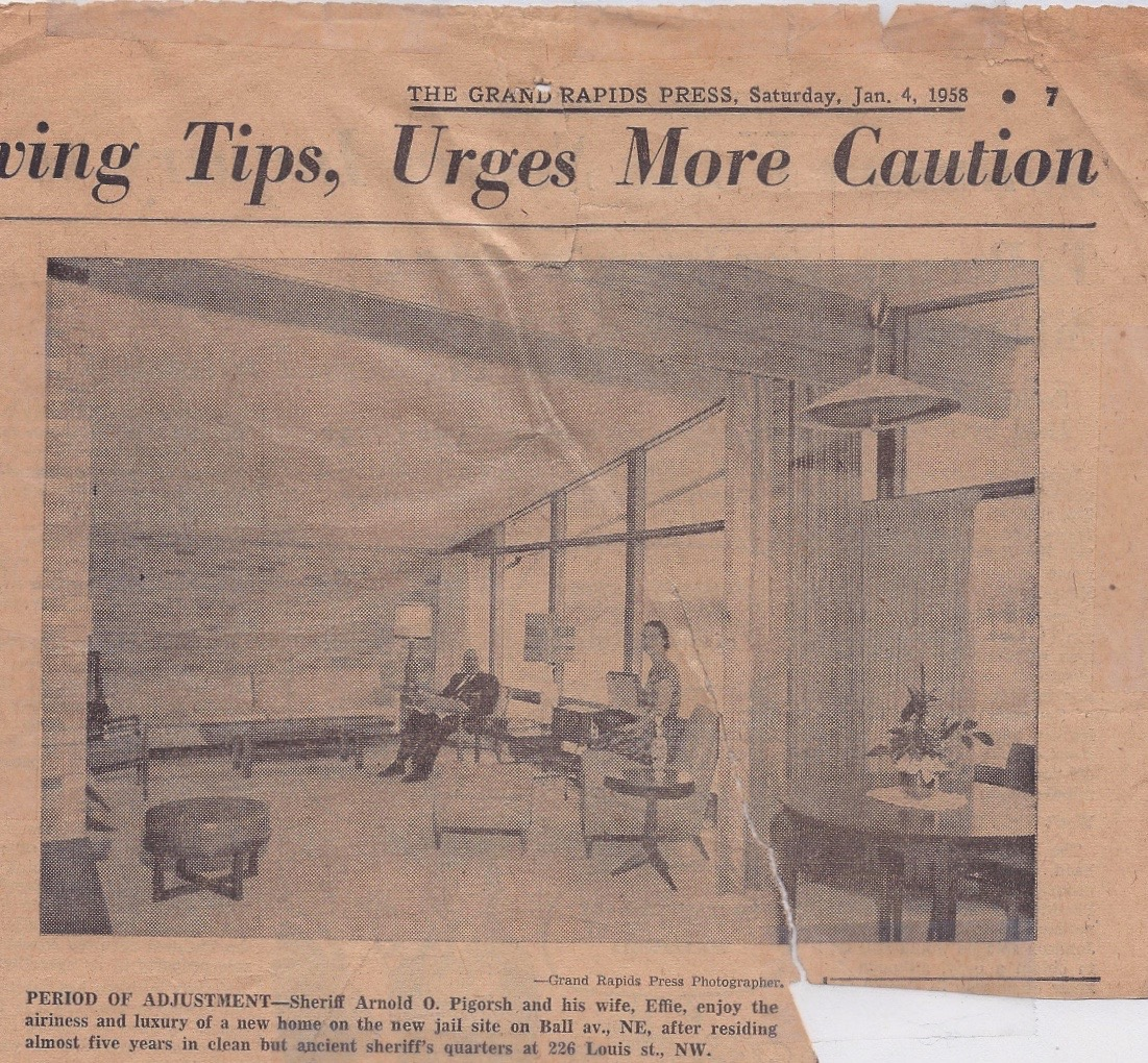 The stylish modern living room in the Sheriff's House. Grand Rapids Press, January 4, 1958.