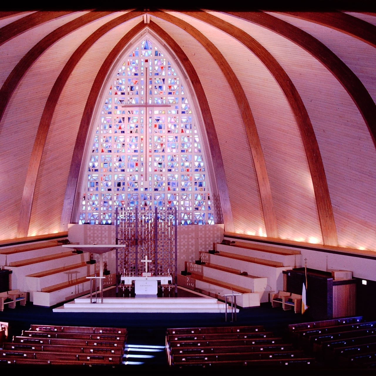 Breathtaking interior photo of Zion Christian Catholic Church and the stained glass window designed by Gerda Elisabeth Swanson Firant. Photo courtesy of Firant Family Archive.