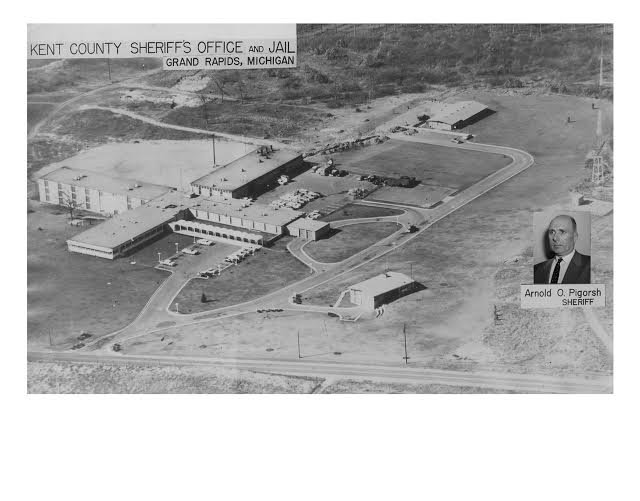 Aerial view of the jail with the Sheriff's house in the foreground. Photograph courtesy of the Kent County Sheriff's Office.
