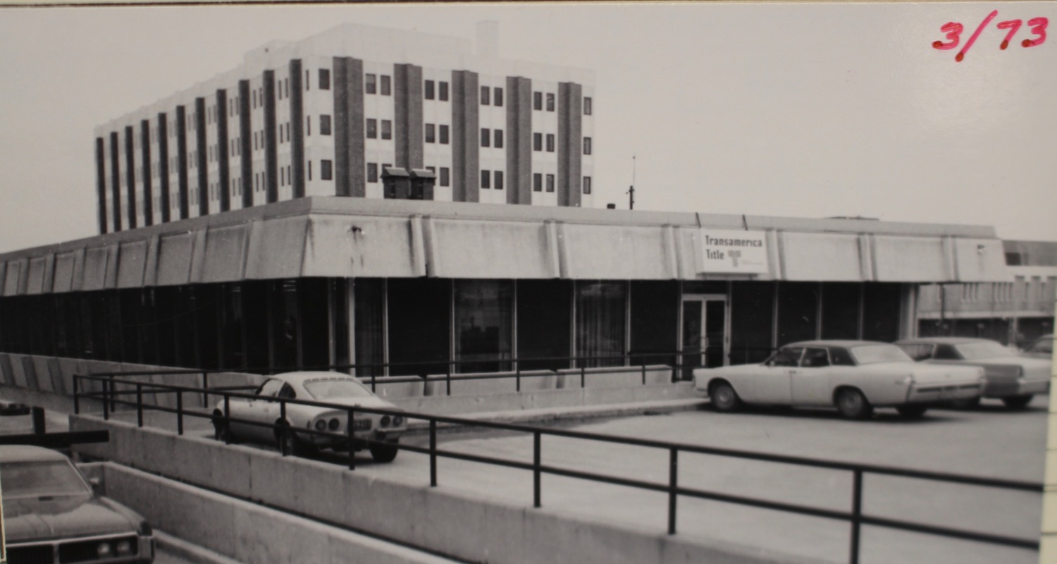 Michigan Street Side of the building showing the parking deck.  Photo Courtesy of City of Grand Rapids Community Archives and Research Center.