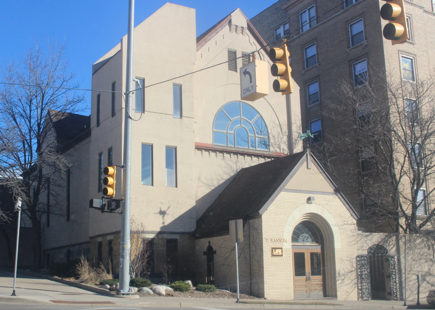 This is what the original Temple Emanuel Building looks like today.  It was located on Ransom at the intersection of Ransom and Fountain Street in the heart of downtown near Grand Rapids Community College.