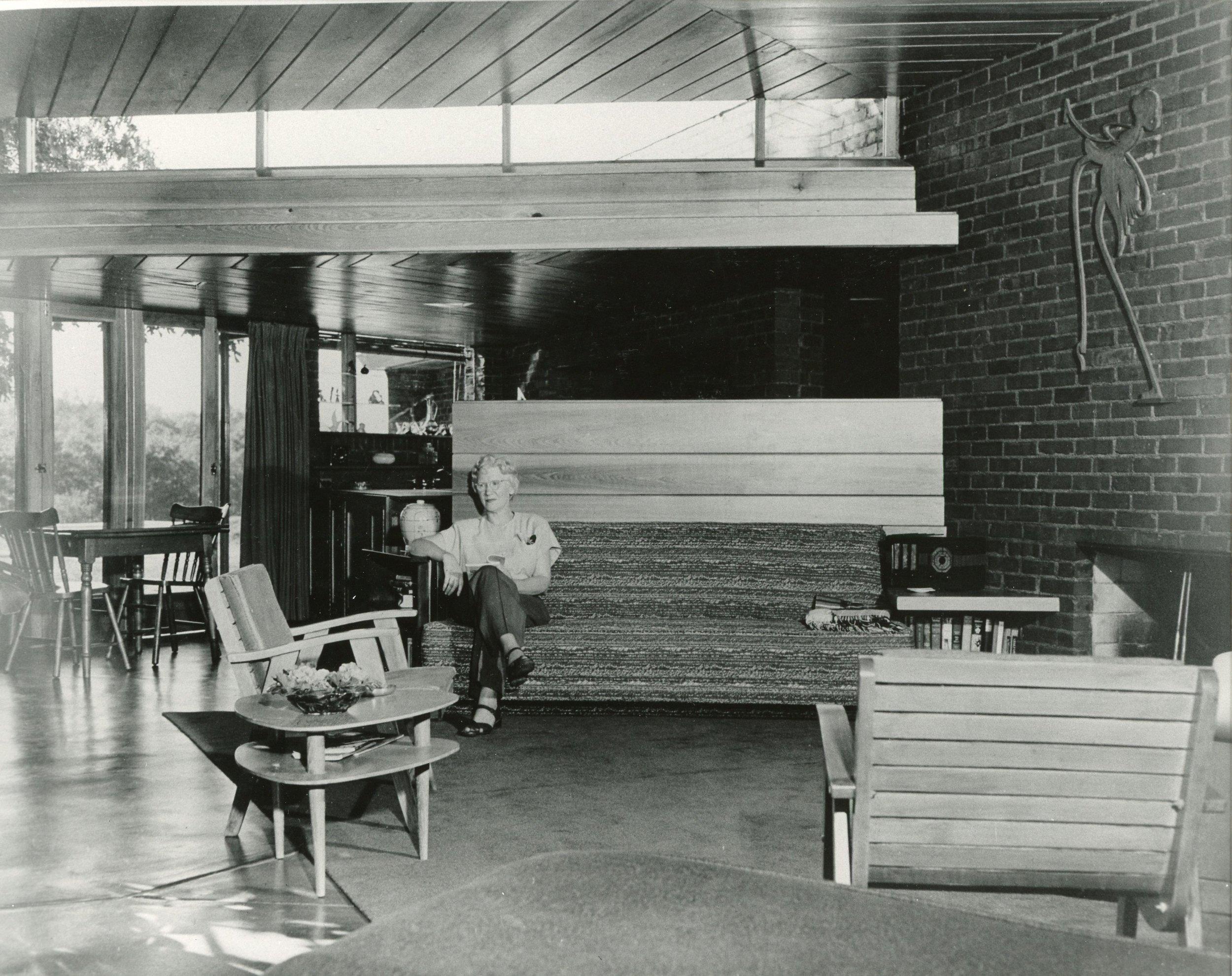 Edna Hargrave shown enjoying her new house.