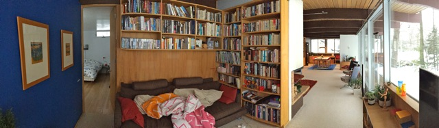 Pan of Library and living room. Photo by Steve Romkema.