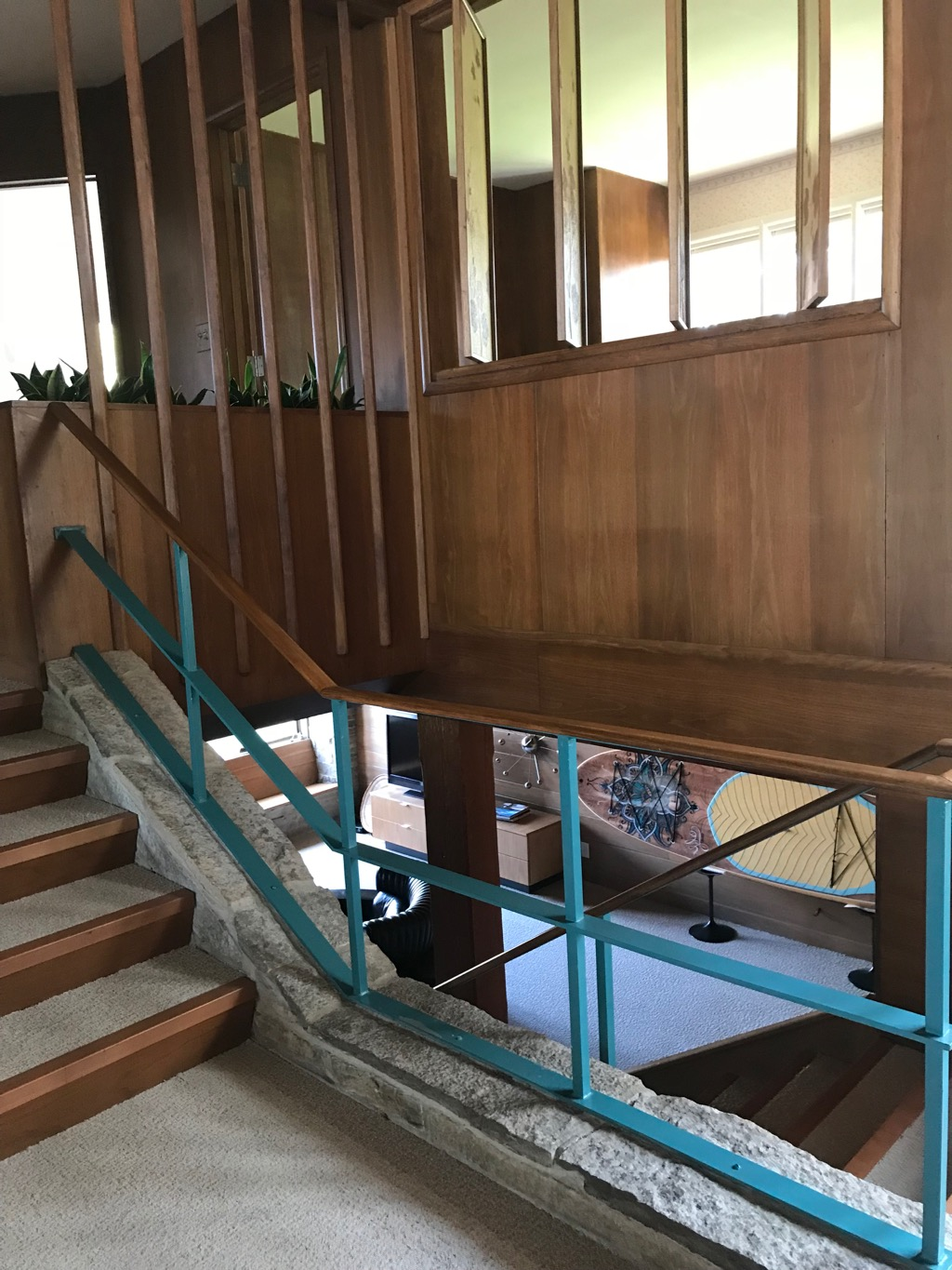 STAIRWAY WITH ORIGINAL TURQUOISE METAL RAILING