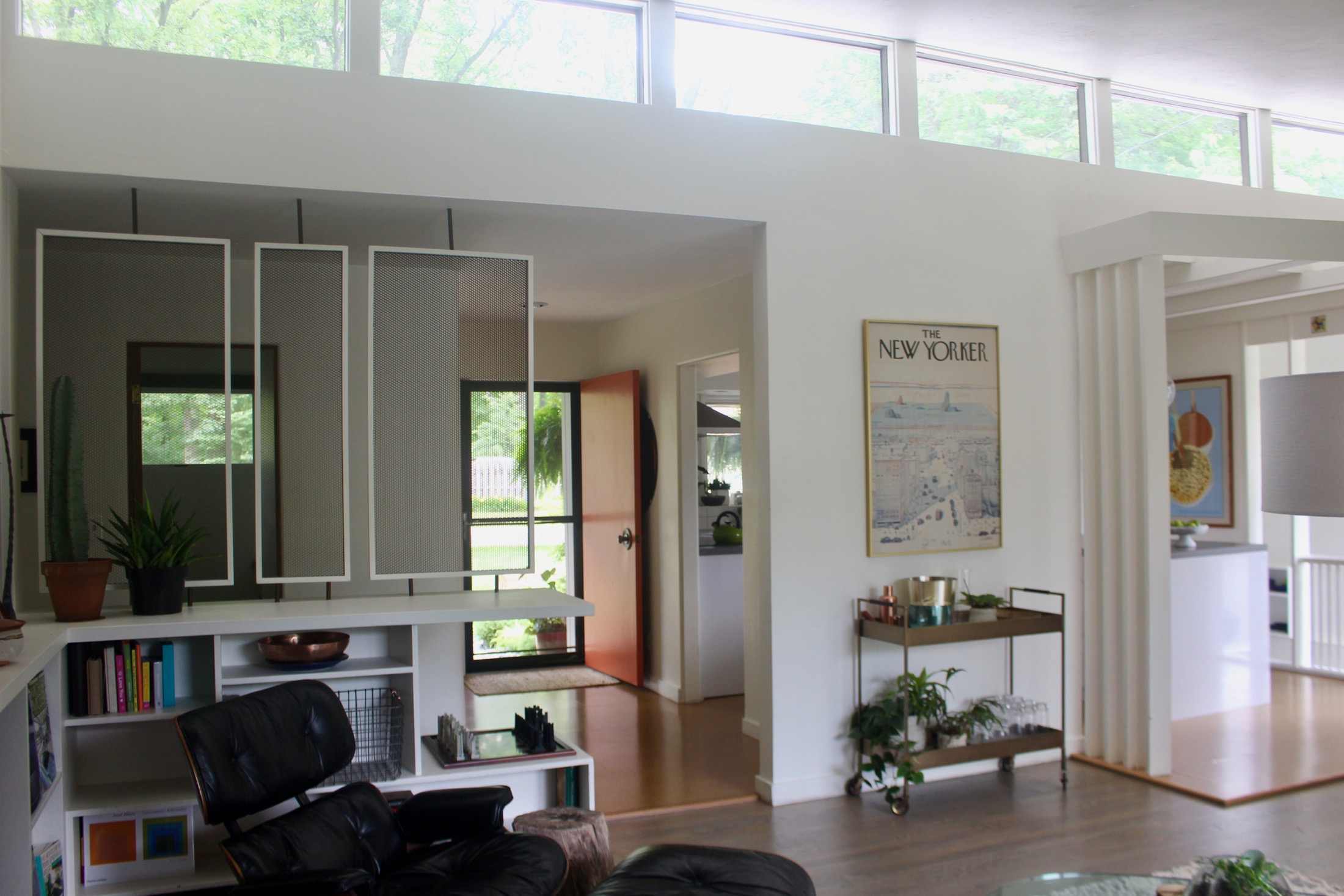 View from the living room of the clerestory windows and front entry.