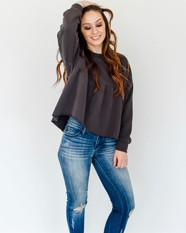 Sweater weather is just around the corner! The Luna Sweater is my fav, I love the peplum style and the comfy comfy sweatshirt feel!