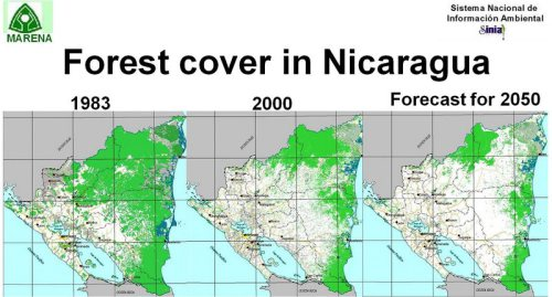 The Ministry of the Environment and Natural Resources in Nicaragua maps of forest loss show the extreme level of deforestation in the recent past, and for the coming decades.
