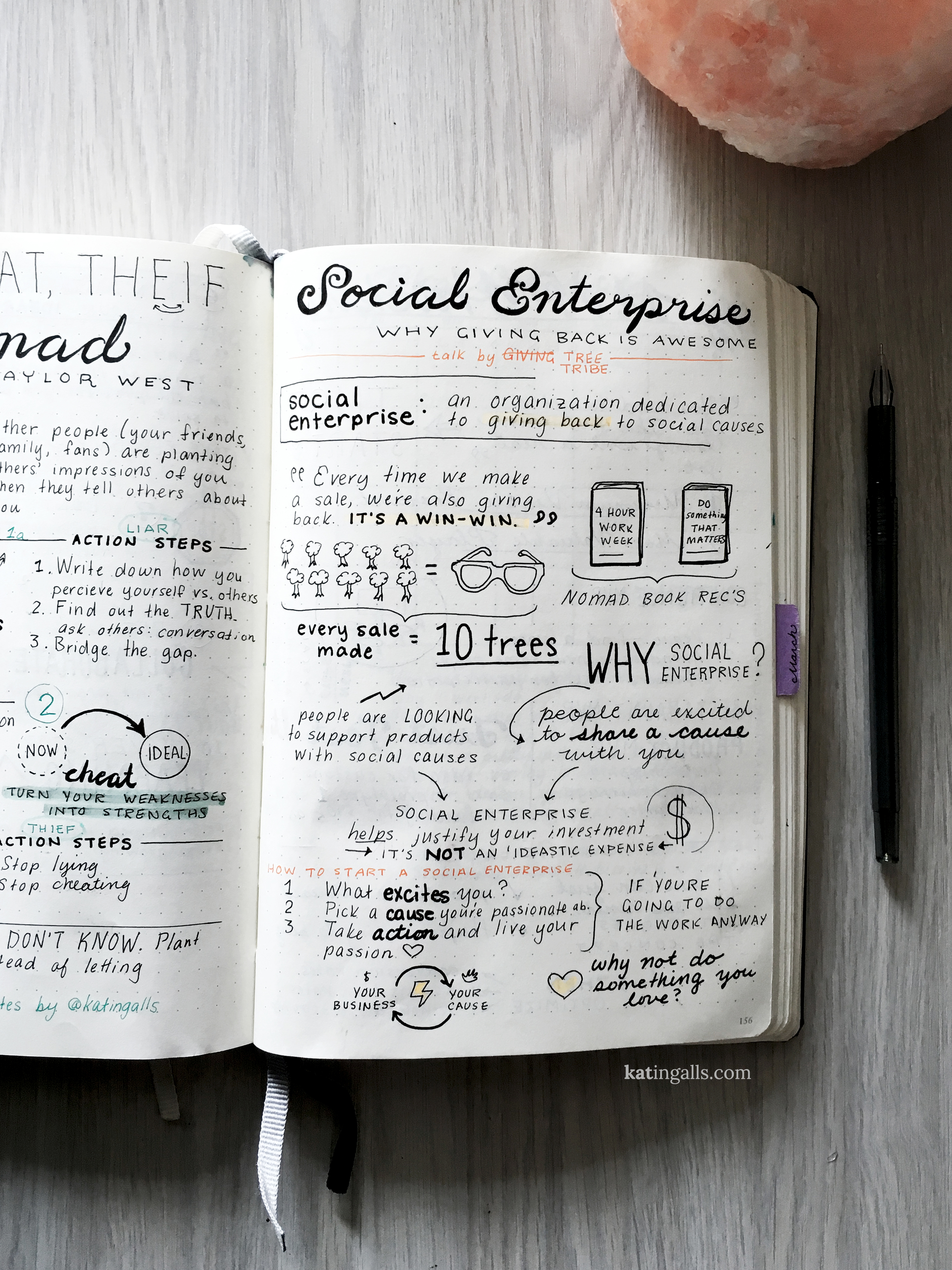 Sketchnotes from Digital Nomad Summit 2016 by Kat Ingalls // Social Enterprise talk by Tree Tribe